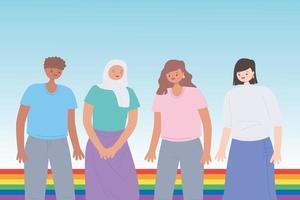 lgbtq Gemeinschaft, junge Leute Regenbogenfahne Feier, Homosexuell Parade sexuelle Diskriminierung Protest vektor