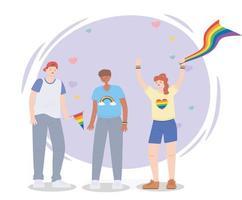 lgbtq Homosexualität und Gemeinschaft protestieren gegen Menschen mit Regenbogenfahnen vektor