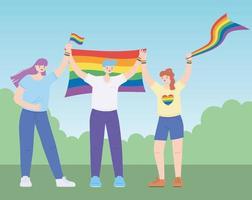 Menschen, die lgbtq-Flaggen halten, unterstützen die Gemeinschaft, Protest gegen sexuelle Diskriminierung bei Schwulenparaden vektor
