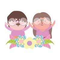 morföräldrars dag, söta äldre par seriefigurer blommor dekoration