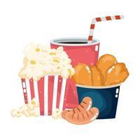 Fast-Food-Menü Restaurant ungesunde Hühnchen Popcorn Würstchen und Soda