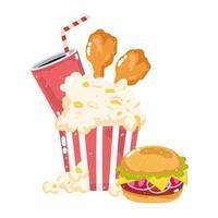 snabbmat meny restaurang ohälsosam popcorn kyckling hamburgare och läsk