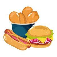 snabbmat meny restaurang ohälsosam kycklingburger och korv vektor