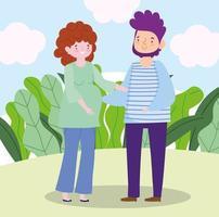 familj pappa och gravid kvinna tillsammans seriefigur vektor