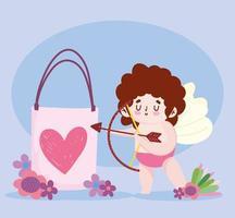 Liebe niedlichen Amor mit Geschenkpfeil und Bogen romantischen Blumen Cartoon vektor