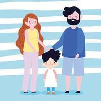 familjens mor far och son tillsammans medlem seriefigur vektor