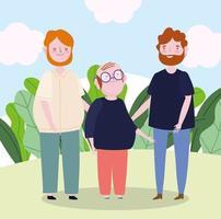 Familie männliche Eltern mit Opa zusammen Zeichentrickfigur vektor