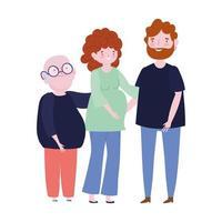 familj far mor och farfar medlem seriefigur vektor