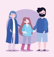 Familie glücklich Vater Mama und Tochter zusammen Zeichentrickfigur vektor