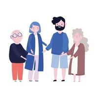 Familiengroßeltern und Eltern zusammen Mitglied Zeichentrickfigur vektor