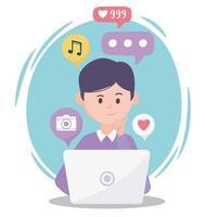 junger Mann mit Laptop verschiedene Apps soziale Netzwerkkommunikation und Technologien vektor