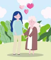 familjens mor och mormor tillsammans seriefigur vektor