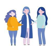 familjens mor och döttrar tillsammans medlem seriefigur vektor