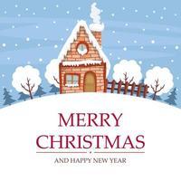 snölandskapsdesign med hus för god julkort vektor