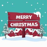 snölandskapsdesign med hus som håller julaffisch vektor