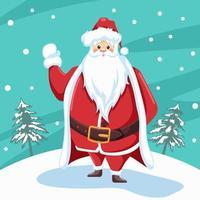 design av jultomten som vinkar till jul med snölandskapbakgrund vektor