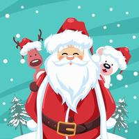 jultomten design med renar och julbjörn vektor