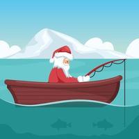 design av jultomten som fiskar i sin båt vid jul vektor