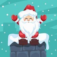 design av jultomten som sitter i en öppen spis vid jul vektor