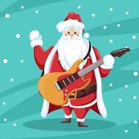 rocker jultomten design med gitarr vektor