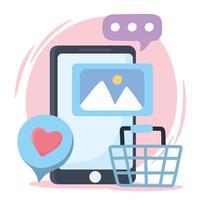 Smartphone wie Chat soziale Netzwerkkommunikation und Technologien vektor