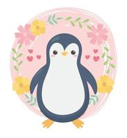 söt liten pingvin blommar hjärtan tecknad djur vektor