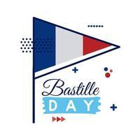 Frankreich Flagge und Bastille Tag Schriftzug flachen Stil