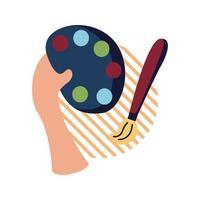 Hand hält Farbpalette und Pinsel flache Stilikone Vektor-Design