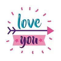 liebe dich Text mit Pfeil flache Stilikone Vektor-Design