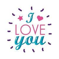 Ich liebe dich Text flache Stilikone Vektor-Design
