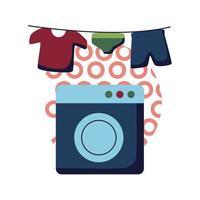 tvättmaskin och kläder hängande platt stil ikon vektor design