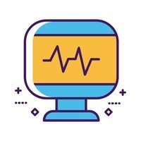 medicinsk ekg kardiologi i skrivbordslinje och fyllningsstil vektor