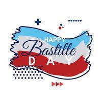frankrike flagga och bastille dag bokstäver platt stil