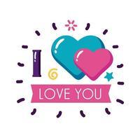 Ich liebe dich Text mit Herzen und Band flache Stilikone Vektor-Design