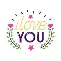 Ich liebe dich Text mit Blättern Kranz flache Stilikone Vektor-Design