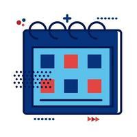 Kalender mit Frankreich Flagge Farben flachen Stil vektor