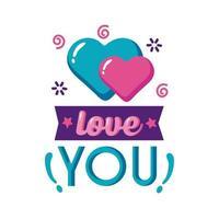 liebe dich Text mit Herzen flache Stilikone Vektor-Design