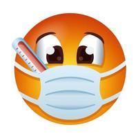 Emoji trägt medizinische Maske mit Thermometer-Gradientenstil