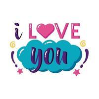 Ich liebe dich Text mit Cloud Flat Style Icon Vektor Design