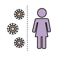 kvinnlig mänsklig figur med covid19-partiklar avlägsnar social linje och fyllningsstil