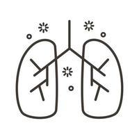 menschliche Lunge mit covid19 Linie Stilikone