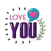 liebe dich Text mit Herzblase flache Stilikone Vektor-Design