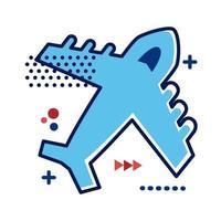 flygplan som flyger platt stilikon