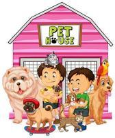 Gruppe von Haustieren mit Besitzern auf weißem Hintergrund vektor