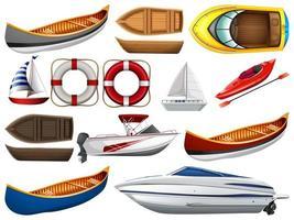 Satz verschiedene Arten von Booten und Schiffen lokalisiert auf weißem Hintergrund vektor