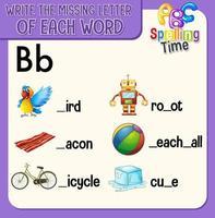 Füllen Sie den fehlenden Buchstaben jedes Wortarbeitsblatts für Kinder aus vektor