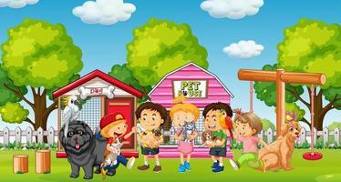 Gruppe von Haustieren mit Besitzer in Spielplatzszene