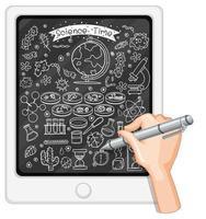 Handzeichnung wissenschaftlicher Elemente auf Tablette vektor