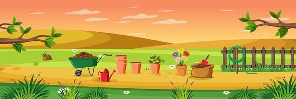 lantlig trädgård utomhus scen vektor