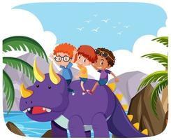 glada barn med dinosaurie i natur bakgrund vektor